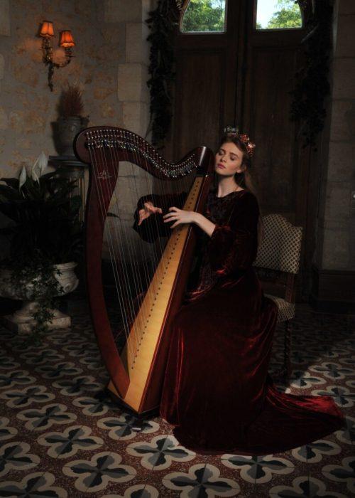 Portrait of a harpist photography by portrait photographer in France session can be arranged in Bordeaux, Paris, Monaco or London. Slide 54