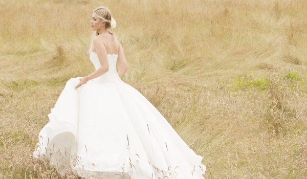 Portrait of a bride in field